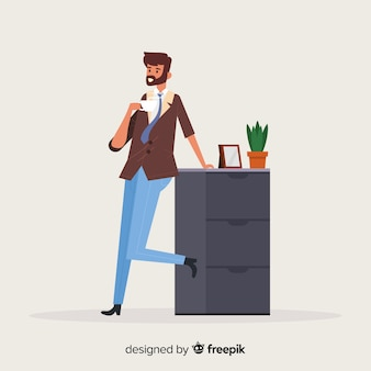 Man having a cup of coffee background