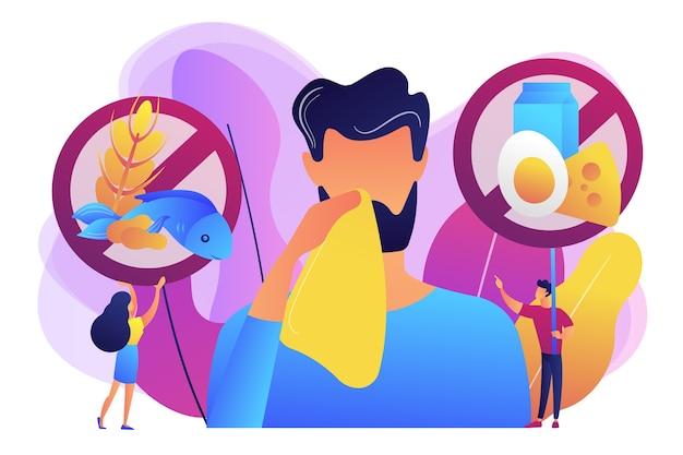 Uomo che ha sintomi di allergia alimentare a prodotti come pesce, latte e uova. allergia alimentare, ingrediente di allergeni alimentari, concetto di fattore di rischio di allergia. illustrazione isolata viola vibrante brillante