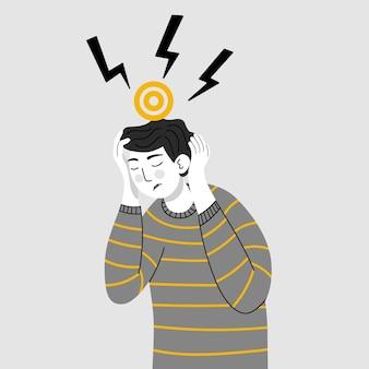 두통 편두통 만성 통증 피로 스트레스 압력 긴장을 가진 남자