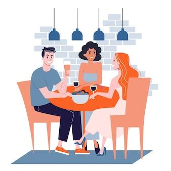 同僚と仕事で昼食をとった男。女性は食べ物を食べる。テーブルに座っている女の子。漫画のスタイルのイラスト