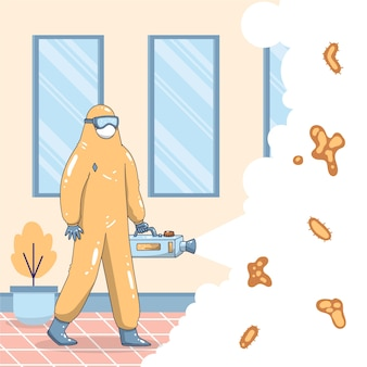 Man in hazmat suit cleaning the house from bacteria