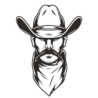 Man head in cowboy hat