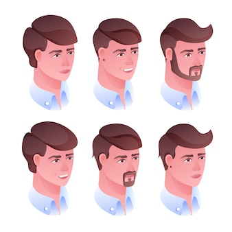 Man head hairstyle illustration for barbershop or hairdresser salon.