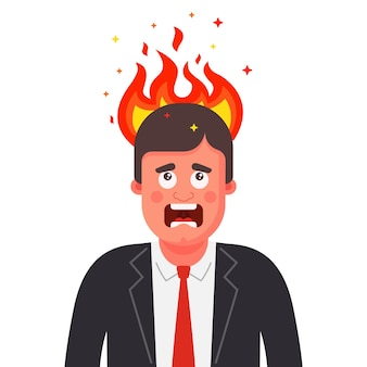 The man head is on fire. mental disorder in humans. flat illustration