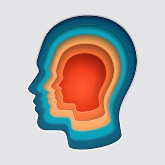 男の頭の心思考シンボル紙カットイラスト