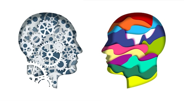 Man head silhouettes with gears and abstract vibrant shapes vector paper cut illustration creative a...