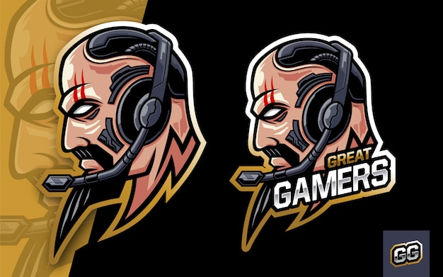 Man head with beard wearing headset logo