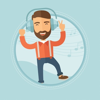 Man in headphones dancing