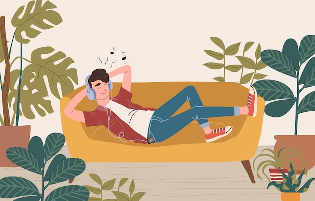 A man in headphones lies on a sofa and listens to music. relaxed man with eyes closed enjoying music. cartoon illustration.