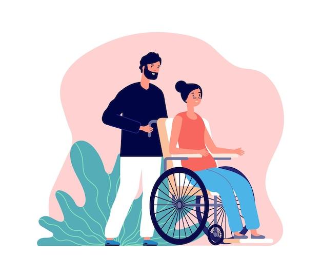 助けてくれる男。車椅子の老婆と若い男性。孤立したソーシャルワーカーまたは高齢者とのボランティア。祖母と孫、家族のベクトル図です。ボランティアボーイは若い女性を助けます
