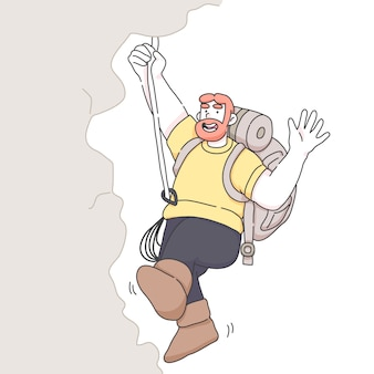 Man hiking mountain waving hand illustration