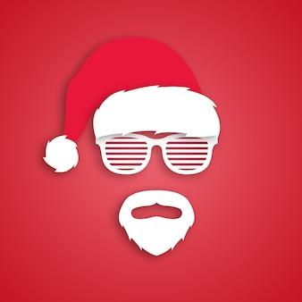 サンタクロースの帽子をかぶった男のヒップスター