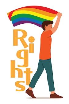 Lgbt 운동을 위해 걷는 동안 무지개 깃발을 든 남자와 권리의 큰 단어가 돌아왔습니다.