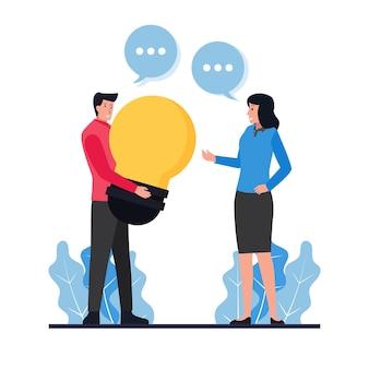 Человек держит лампочку, предлагая идею женщине, метафору обмена идеями.