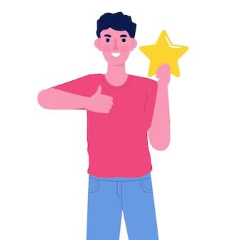 Человек держит золотую звезду рейтинга. положительные отзывы звезд