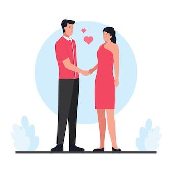 Мужчина держит девушку за руку в день святого валентина.