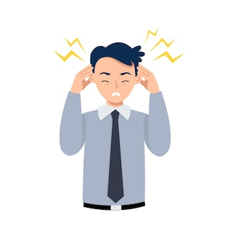 男性は、職場での頭痛やストレスのために頭を抱えています。