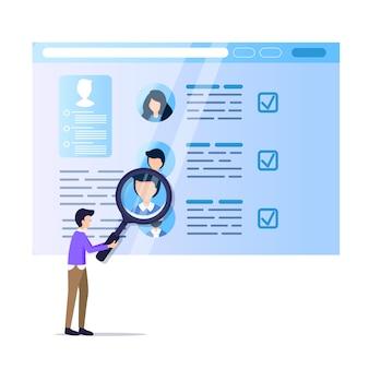 Man hold magnifier monitoring social media resume