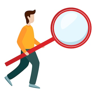 Man hold magnifying glass