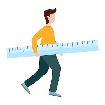 Man hold measurement ruler