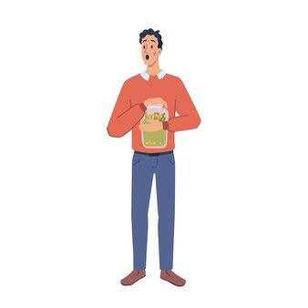 Man hold savings in glass jar cartoon character