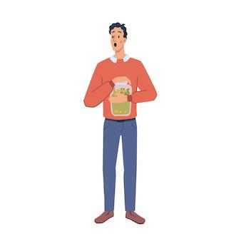 Человек держит сбережения в стеклянной банке мультипликационный персонаж