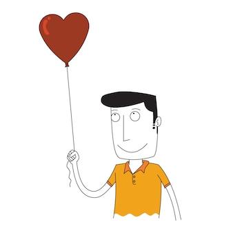 Мужчина держит воздушный шар любви
