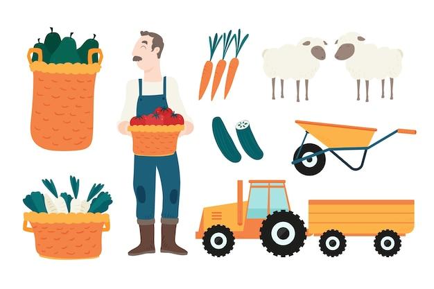 Мужчина держит корзину с помидорами на ферме