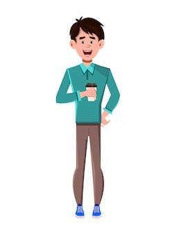 コーヒーカップを抱きかかえた