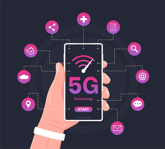 5gネットワークワイヤレスシステムで電話を持っている男高速モバイルインターネットの概念