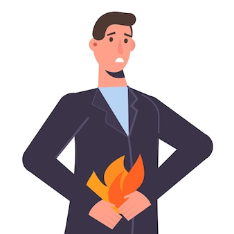 Мужчина держит живот. концепция проблемы изжоги и желудка. векторная иллюстрация.