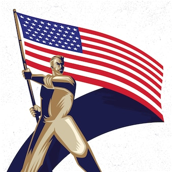Man holding an american flag with pride vector illustration