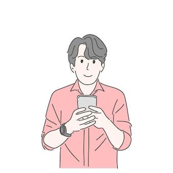 Мужчина держит и использует смартфон. ручной обращается стиль векторных символов.