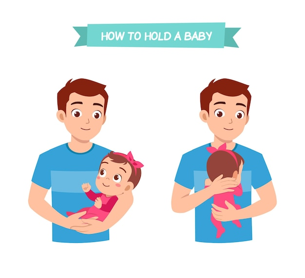 Man holding baby pose with good way