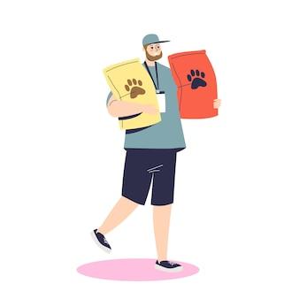 Мужчина держит пакеты с кормом в приют для животных