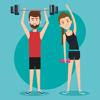 Man holding barbell and woman holding dumbbel