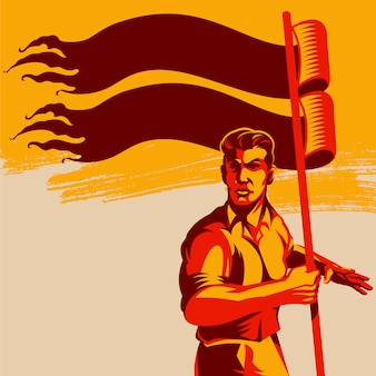 Man holding blank flag vector illustration