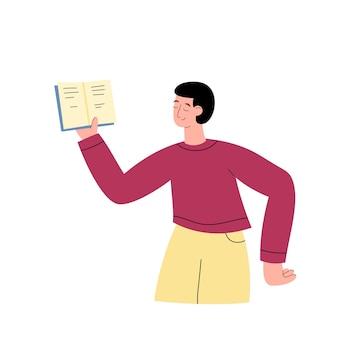 Человек, держащий книгу в одной руке и читающий плоские векторные иллюстрации изолированы