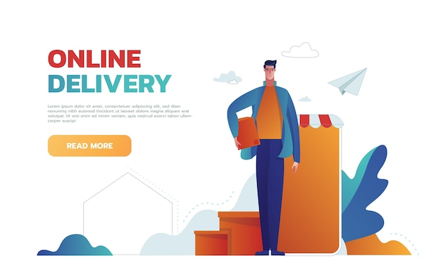 Man holding box online delivery banner template