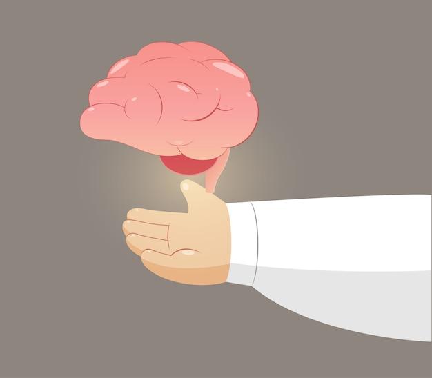 Мужчина держит мозг