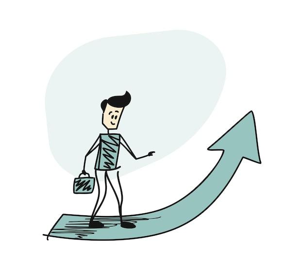 上向きの大きな矢印の前に立っているブリーフケースを持っている男。漫画のベクトルの背景。ブリーフケース
