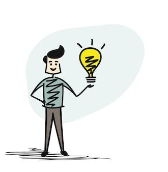 Man holding bulb- idea concept, cartoon sketch concept isolated vector illustration.
