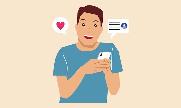 モバイルデートアプリケーションを使用して携帯電話を持っている男