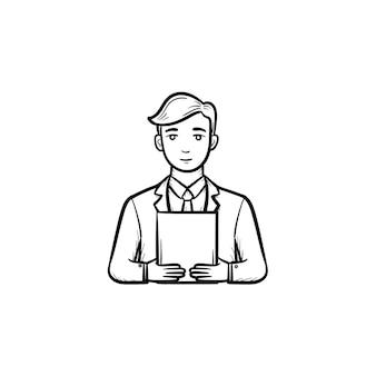 電子タブレットの手描きのアウトライン落書きベクトルアイコンを保持している男。印刷、ウェブ、モバイル、白い背景で隔離のインフォグラフィック用の電子デバイスのイラストをスケッチします。