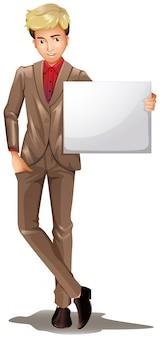 A man holding an empty signboard