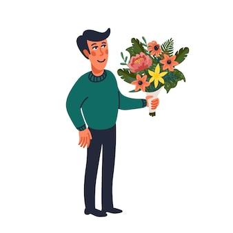 꽃다발을 들고 남자입니다. 흰색 바탕에 평면 만화 스타일에서 벡터 일러스트 레이 션.