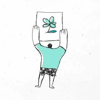 Uomo con un cartone animato di un fiore flower