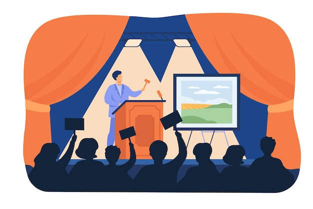 Man holding gavel behind special stand and selling picture flat vector illustration. cartoon crowd of buyer raising hands and bidding price. art auction and painting gallery concept