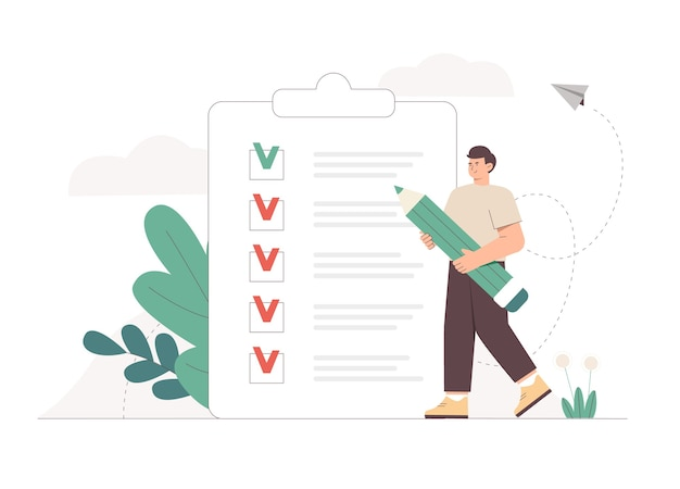 Man holding giant pencil looking at completed checklist on clipboard
