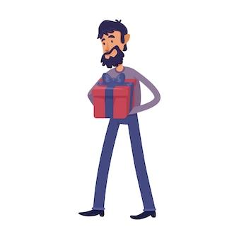 ギフトボックスフラット漫画イラストを抱きかかえた。ホリデープレゼントと男性のひげを生やした大人。コマーシャル、アニメーション、印刷デザインの2dキャラクターテンプレートを使用する準備ができました。孤立したコミックヒーロー